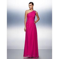 Prom / Formal Evening Dress - Fuchsia Plus Sizes / Petite A-line One Shoulder Floor-length Chiffon