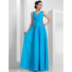 Formal Evening Prom Military Ball Dress Pool Plus Sizes Petite Sheath Column V Neck Floor Length Chiffon