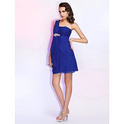 Cocktail Party / Wedding Party Dress - Royal Blue Plus Sizes / Petite Sheath/Column One Shoulder Short/Mini Chiffon