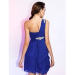 Cocktail Party / Wedding Party Dress - Royal Blue Plus Sizes / Petite Sheath/Column One Shoulder Short/Mini Chiffon Special Occasion Dresses