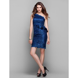 Cocktail Party Holiday Prom Dress Dark Navy Plus Sizes Petite Sheath Column One Shoulder Knee Length Lace