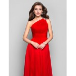TS Couture Formal Evening / Prom / Military Ball Dress - Ruby Plus Sizes / Petite Sheath/Column One Shoulder Floor-length Chiffon Special Occasion Dresses