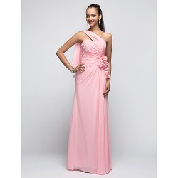 Prom / Military Ball / Formal Evening Dress - Candy Pink Plus Sizes / Petite Sheath/Column One Shoulder Floor-length Chiffon