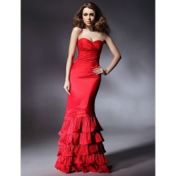 Prom Military Ball Formal Evening Dress Ruby Plus Sizes Petite Trumpet Mermaid Strapless Sweetheart Floor Length Taffeta