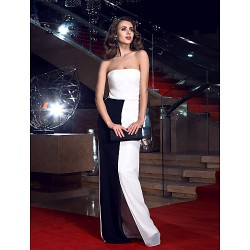 Formal Evening Ivory Sheath/Column Strapless Floor-length Chiffon