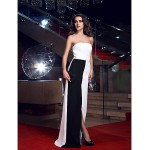TS Couture Formal Evening Ivory Sheath/Column Strapless Floor-length Chiffon Special Occasion Dresses