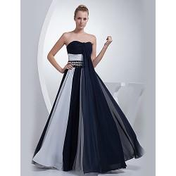 Formal Evening Dress Ink Blue A Line Sweetheart Floor Length Chiffon