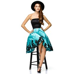 Cocktail Party Dress Multi Color A Line Strapless Knee Length Satin
