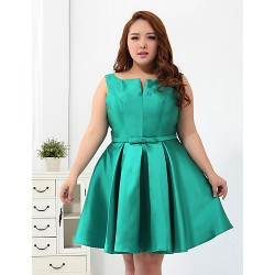 Cocktail Party Dress - Jade Plus Sizes Ball Gown Scoop Short/Mini Polyester