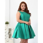 Cocktail Party Dress - Jade Plus Sizes Ball Gown Scoop Short/Mini Polyester Special Occasion Dresses