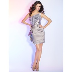 Cocktail Party Holiday Dress Silver Plus Sizes Petite Sheath Column One Shoulder Short Mini Satin