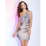 TS Couture Cocktail Party / Holiday Dress - Silver Plus Sizes / Petite Sheath/Column One Shoulder Short/Mini Satin Special Occasion Dresses