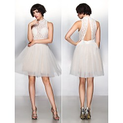 Cocktail Party Dress - Ivory A-line High Neck Knee-length Lace / Tulle