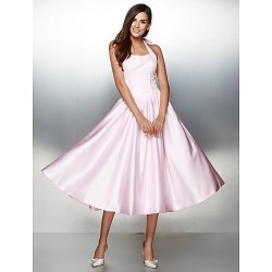 Formal Evening Dress Candy Pink A Line Halter Tea Length Satin
