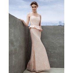 Formal Evening Dress Pearl Pink Sheath Column Scoop Ankle Length Lace