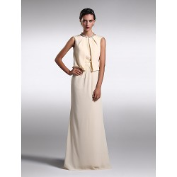 Formal Evening Dress - Daffodil Plus Sizes / Petite Sheath/Column Jewel Floor-length Chiffon