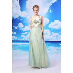 Formal Evening Dress Daffodil A Line Jewel Floor Length Organza Satin