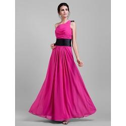 Floor-length Chiffon Bridesmaid Dress - Fuchsia Plus Sizes / Petite Sheath/Column One Shoulder