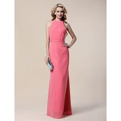Formal Evening / Military Ball Dress - Watermelon Plus Sizes / Petite Sheath/Column Halter Floor-length Chiffon