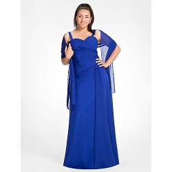 Formal Evening / Military Ball Dress - Royal Blue Plus Sizes / Petite Sheath/Column Sweetheart / Straps Floor-length Chiffon