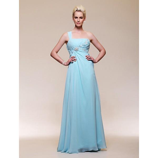 Formal Evening / Military Ball Dress - Sky Blue Plus Sizes / Petite A-line / Princess One Shoulder Floor-length Chiffon Special Occasion Dresses