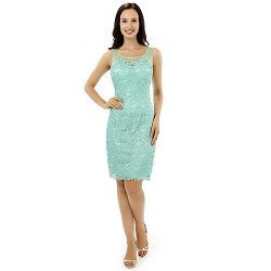 Formal Evening Dress Jade Sheath Column Scoop Knee Length Lace Satin
