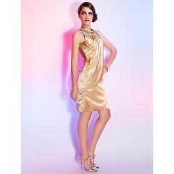 Dress Champagne Plus Sizes Petite Sheath Column Jewel Knee Length Stretch Satin
