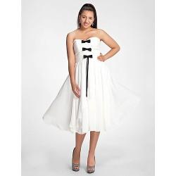 Cocktail Party Dress - Ivory Plus Sizes / Petite A-line / Princess Sweetheart / Strapless Tea-length Chiffon