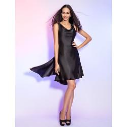Dress - Black Plus Sizes / Petite Sheath/Column Cowl Asymmetrical Charmeuse