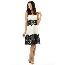 Cocktail Party Dress White A Line Strapless Knee Length Satin