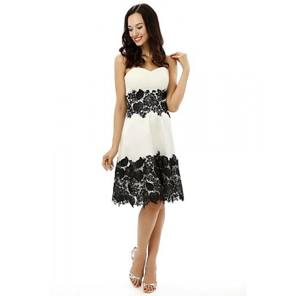 Cocktail Party Dress - White A-line Strapless Knee-length Satin Special Occasion Dresses