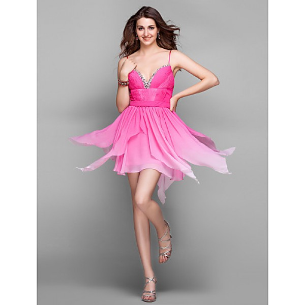 Cocktail Party / Holiday / Prom Dress - Multi-color Plus Sizes / Petite A-line V-neck Short/Mini Chiffon Special Occasion Dresses