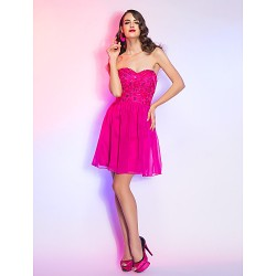 Cocktail Party / Homecoming / Holiday Dress - Fuchsia Plus Sizes / Petite A-line Sweetheart Short/Mini Lace / Chiffon