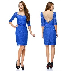 Cocktail Party Dress Royal Blue Sheath Column Scoop Knee Length Lace