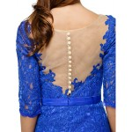TS Couture Cocktail Party Dress - Royal Blue Sheath/Column Scoop Knee-length Lace Special Occasion Dresses