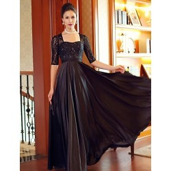Formal Evening Dress Black Plus Sizes Sheath Column Square Floor Length Court Train Satin