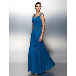 Dress Ocean Blue Plus Sizes Petite Sheath Column Straps Floor Length Chiffon