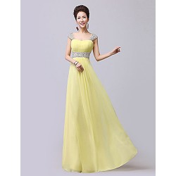 Formal Evening Dress - Ruby / Daffodil / Fuchsia / Royal Blue / Pool Plus Sizes / Petite A-line Sweetheart / Straps Floor-length Chiffon