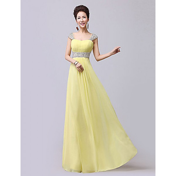 Formal Evening Dress - Ruby / Daffodil / Fuchsia / Royal Blue / Pool Plus Sizes / Petite A-line Sweetheart / Straps Floor-length Chiffon Special Occasion Dresses