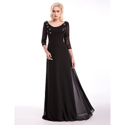 Formal Evening Dress Black A Line Scoop Floor Length Chiffon Lace Stretch Satin