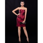 Cocktail Party / Wedding Party Dress - Burgundy Plus Sizes / Petite Sheath/Column Strapless Short/Mini Stretch Satin Special Occasion Dresses