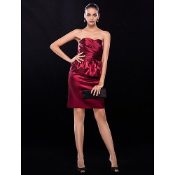 Cocktail Party Wedding Party Dress Burgundy Plus Sizes Petite Sheath Column Strapless Short Mini Stretch Satin