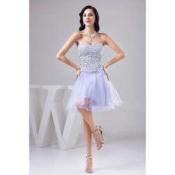 Cocktail Party Dress - Lavender Petite A-line Sweetheart Knee-length Tulle / Sequined