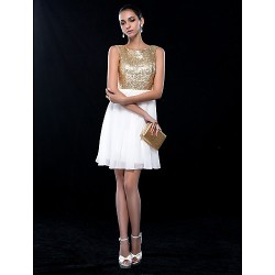 Cocktail Party Wedding Party Dress Ivory Plus Sizes Petite A Line Jewel Short Mini Chiffon Sequined
