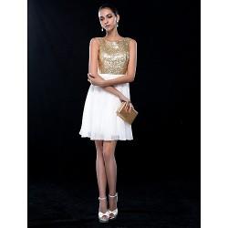 Cocktail Party Wedding Party Dress Ivory Plus Sizes Petite A Line Jewel Short Mini Chiffon Sequined