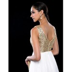 TS Couture Cocktail Party / Wedding Party Dress - Ivory Plus Sizes / Petite A-line Jewel Short/Mini Chiffon / Sequined Special Occasion Dresses