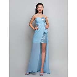 Cocktail Party Holiday Dress Sky Blue Plus Sizes Petite Sheath Column Sweetheart Asymmetrical Georgette Sequined