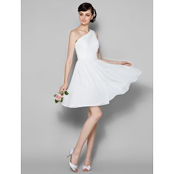 Knee Length Georgette Bridesmaid Dress Ivory Plus Sizes Petite A Line One Shoulder