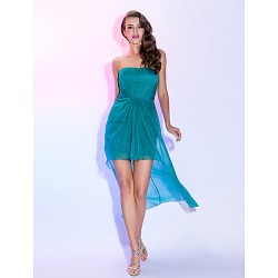 Cocktail Party Dress Jade Plus Sizes Petite Sheath Column Strapless Asymmetrical Chiffon