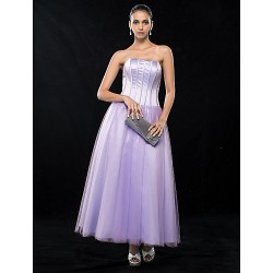 Wedding Party Cocktail Party Homecoming Dress Lavender Plus Sizes Petite A Line Strapless Ankle Length Satin Tulle